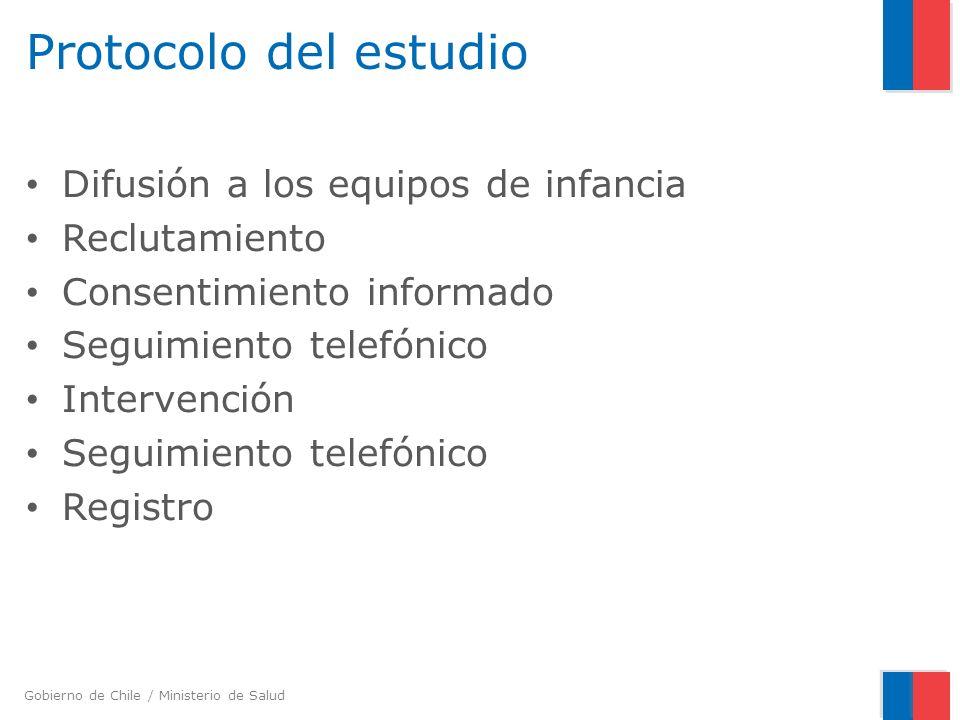 Gobierno de Chile / Ministerio de Salud Protocolo del estudio Difusión a los equipos de infancia Reclutamiento Consentimiento informado Seguimiento te