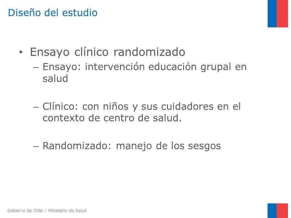 Gobierno de Chile / Ministerio de Salud Diseño del estudio Ensayo clínico randomizado – Ensayo: intervención educación grupal en salud – Clínico: con