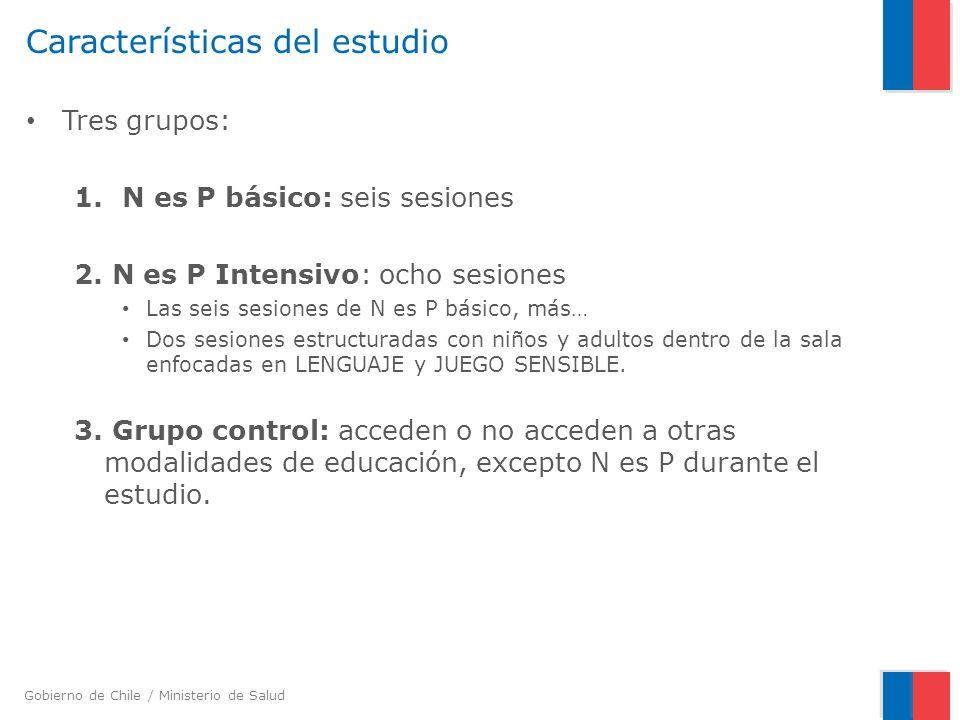 Gobierno de Chile / Ministerio de Salud Características del estudio Tres grupos: 1.N es P básico: seis sesiones 2. N es P Intensivo: ocho sesiones Las