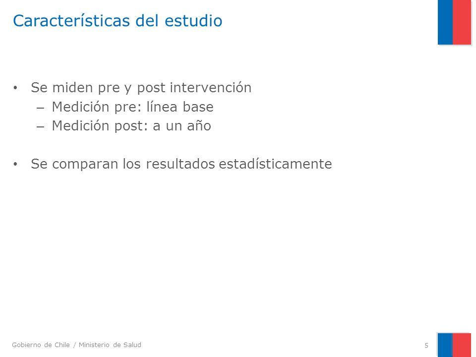 Gobierno de Chile / Ministerio de Salud Características del estudio Se miden pre y post intervención – Medición pre: línea base – Medición post: a un