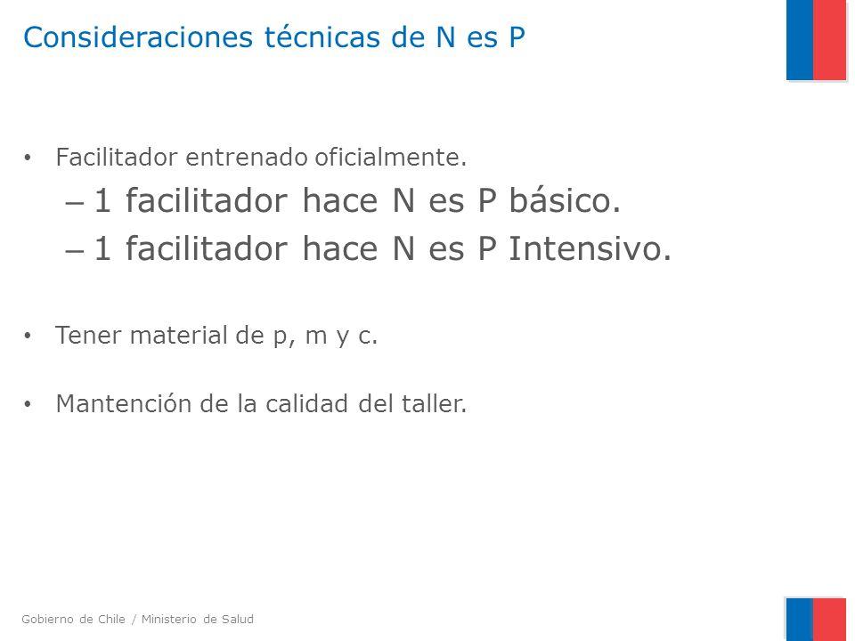 Gobierno de Chile / Ministerio de Salud Consideraciones técnicas de N es P Facilitador entrenado oficialmente. – 1 facilitador hace N es P básico. – 1