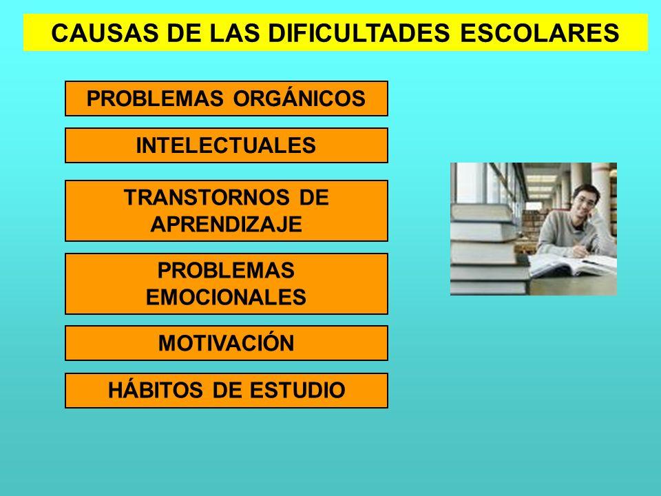 CAUSAS DE LAS DIFICULTADES ESCOLARES PROBLEMAS ORGÁNICOS INTELECTUALES TRANSTORNOS DE APRENDIZAJE PROBLEMAS EMOCIONALES MOTIVACIÓN HÁBITOS DE ESTUDIO