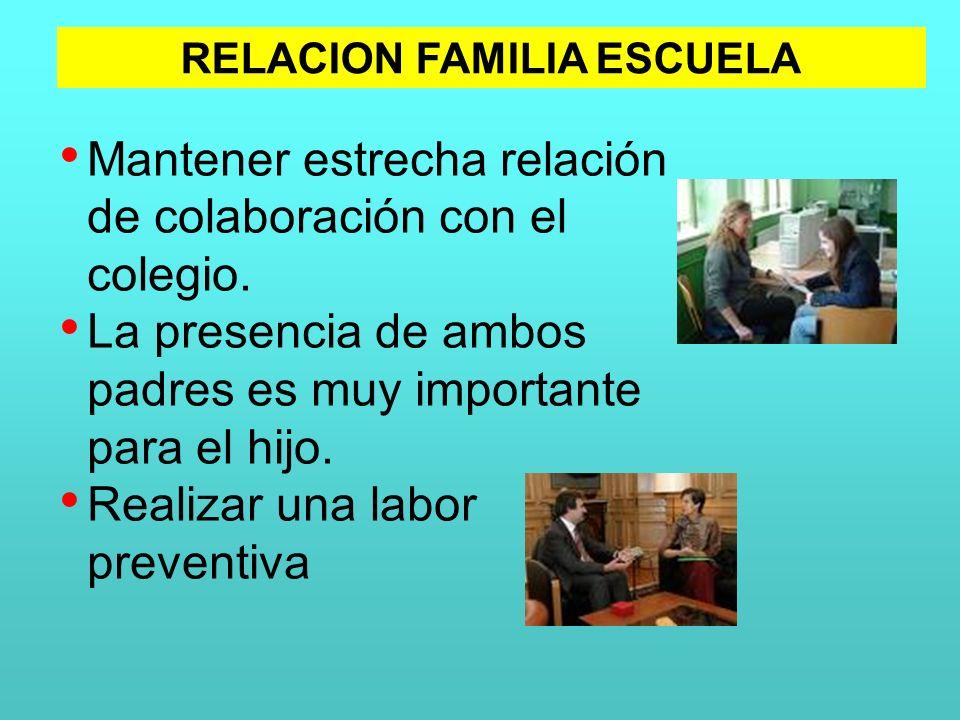 Mantener estrecha relación de colaboración con el colegio. La presencia de ambos padres es muy importante para el hijo. Realizar una labor preventiva