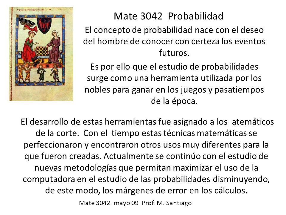 Mate 3042 Probabilidad El concepto de probabilidad nace con el deseo del hombre de conocer con certeza los eventos futuros. Es por ello que el estudio
