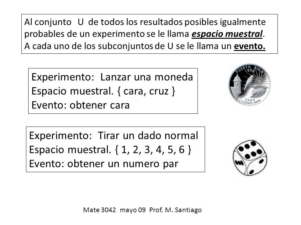 Al conjunto U de todos los resultados posibles igualmente probables de un experimento se le llama espacio muestral. A cada uno de los subconjuntos de