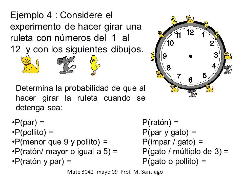 Ejemplo 4 : Considere el experimento de hacer girar una ruleta con números del 1 al 12 y con los siguientes dibujos. Determina la probabilidad de que