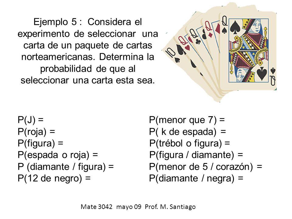 Ejemplo 5 : Considera el experimento de seleccionar una carta de un paquete de cartas norteamericanas. Determina la probabilidad de que al seleccionar