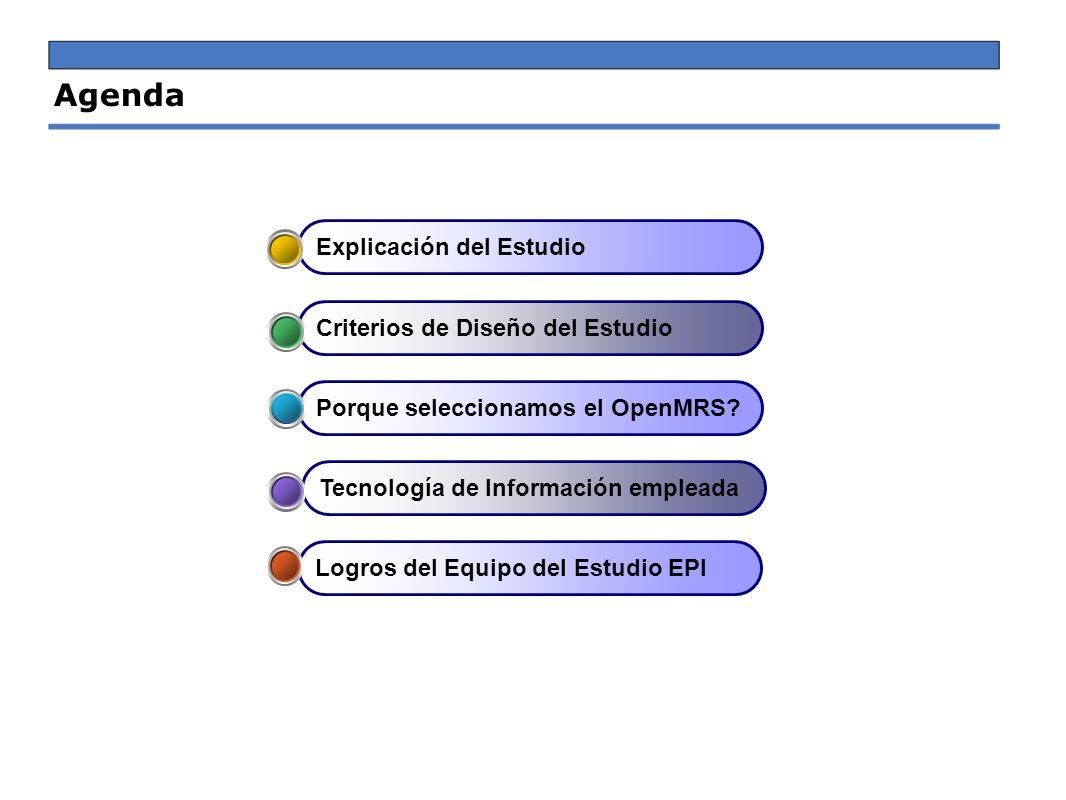Agenda Logros del Equipo del Estudio EPI Tecnología de Información empleada Porque seleccionamos el OpenMRS? Criterios de Diseño del Estudio Explicaci