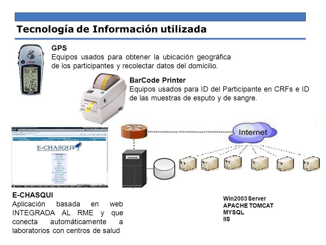 Tecnología de Información utilizada BarCode Printer Equipos usados para ID del Participante en CRFs e ID de las muestras de esputo y de sangre. E-CHAS