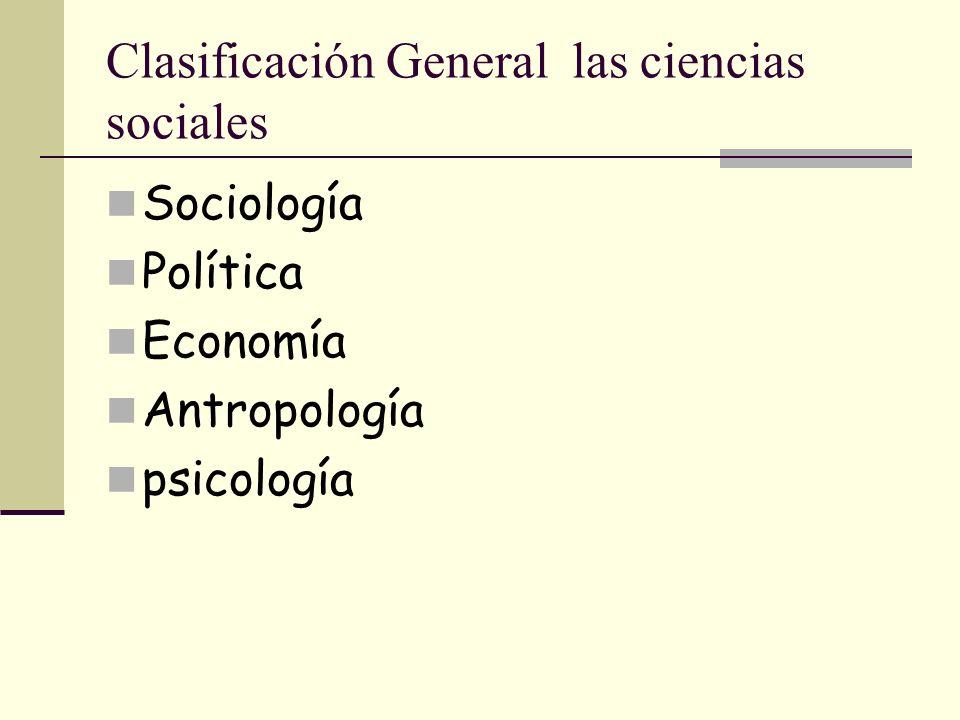 Clasificación de las ciencias sociales Estas disciplinas se especializan en un aspecto particular de la conducta humana.