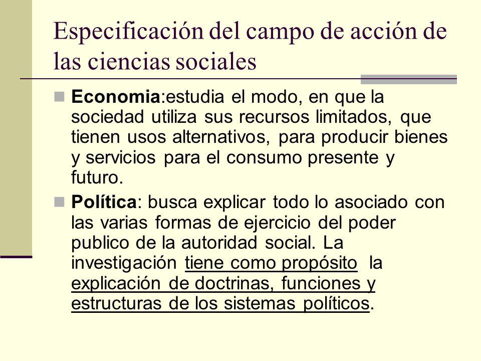 Continuacion Especificacion del campo de accion de las ciencias sociales Psicologia :Estudia el comportamiento individual del ser humano.