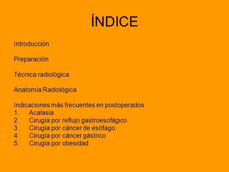 ÍNDICE Introducción Preparación Técnica radiológica Anatomía Radiológica Indicaciones más frecuentes en postoperados 1.Acalasia 2.Cirugía por reflujo