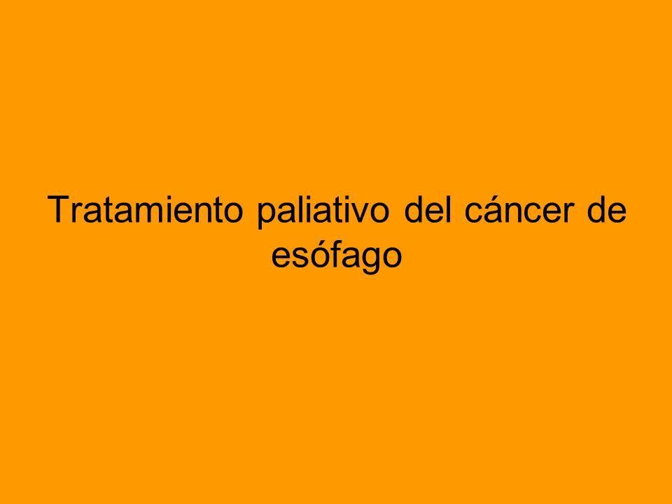 Técnica de colocación de endoprotesis esofágica Los candidatos idóneos para las prótesis esofágicas son los pacientes con tumores de la parte media del esófago en los que no se espere una supervivencia superior a unos meses.
