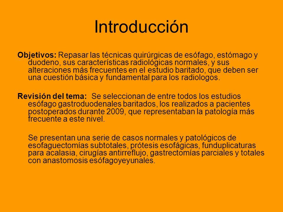 Introducción Objetivos: Repasar las técnicas quirúrgicas de esófago, estómago y duodeno, sus características radiológicas normales, y sus alteraciones