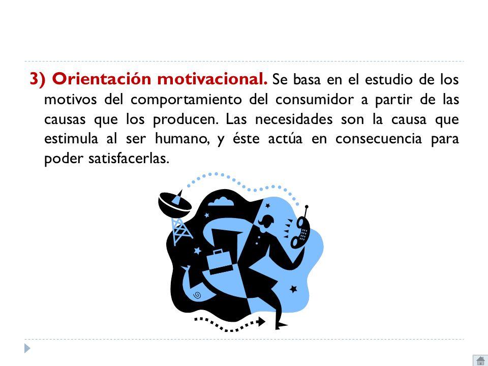 3) Orientación motivacional. Se basa en el estudio de los motivos del comportamiento del consumidor a partir de las causas que los producen. Las neces
