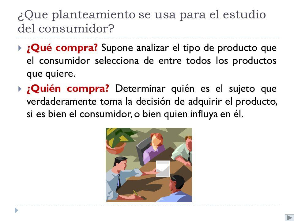 ¿Que planteamiento se usa para el estudio del consumidor? ¿Qué compra? Supone analizar el tipo de producto que el consumidor selecciona de entre todos