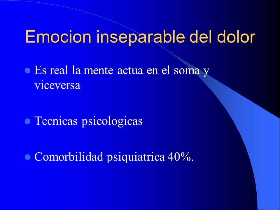 Emocion inseparable del dolor Lobulo frontal con el hipocampo y corteza olfatoria.