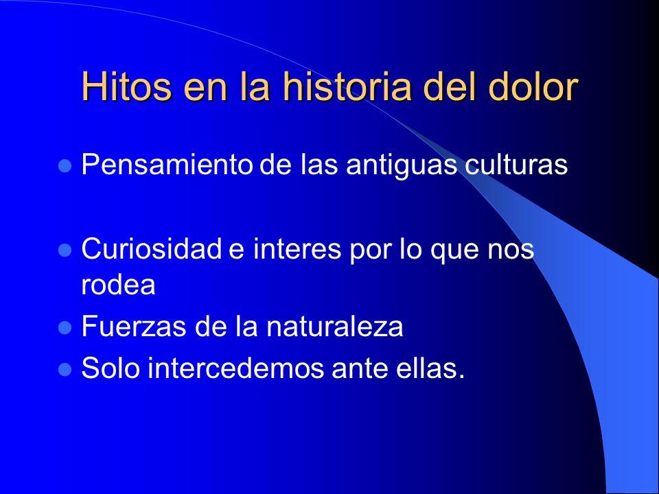Hitos en la historia del dolor Pensamiento de las antiguas culturas Curiosidad e interes por lo que nos rodea Fuerzas de la naturaleza Solo intercedemos ante ellas.