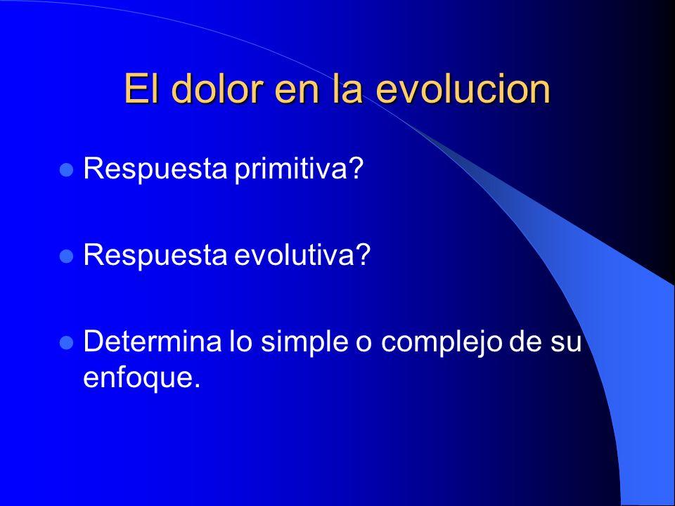 El dolor en la evolucion Respuesta primitiva.Respuesta evolutiva.