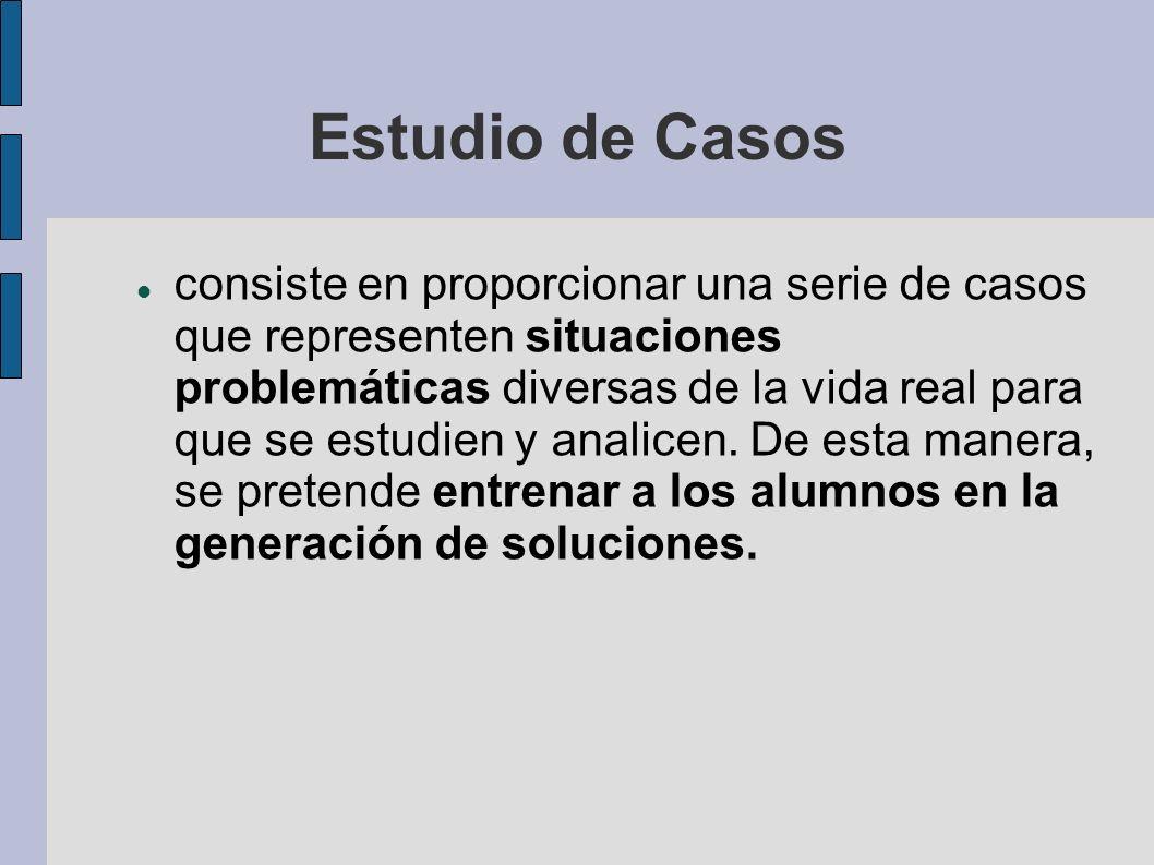 Estudio de Casos consiste en proporcionar una serie de casos que representen situaciones problemáticas diversas de la vida real para que se estudien y