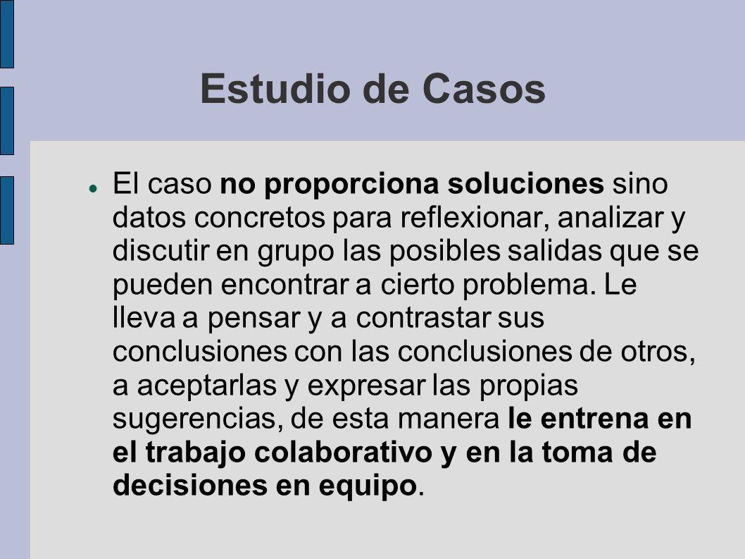 Estudio de Casos El caso no proporciona soluciones sino datos concretos para reflexionar, analizar y discutir en grupo las posibles salidas que se pue
