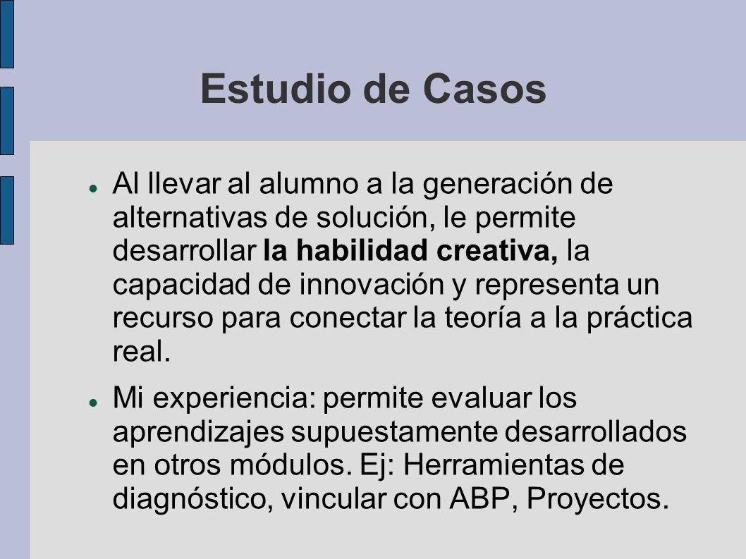 Estudio de Casos Al llevar al alumno a la generación de alternativas de solución, le permite desarrollar la habilidad creativa, la capacidad de innova