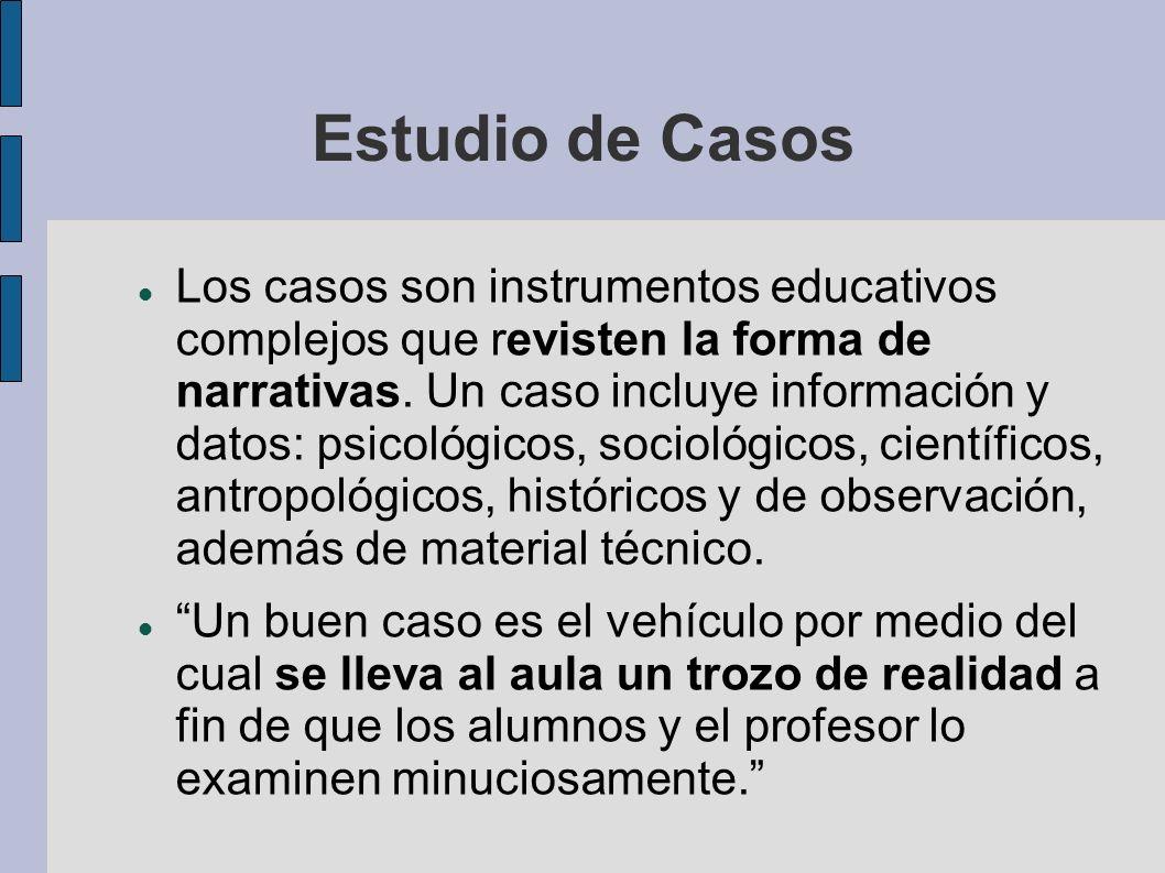 Estudio de Casos Los casos son instrumentos educativos complejos que revisten la forma de narrativas. Un caso incluye información y datos: psicológico