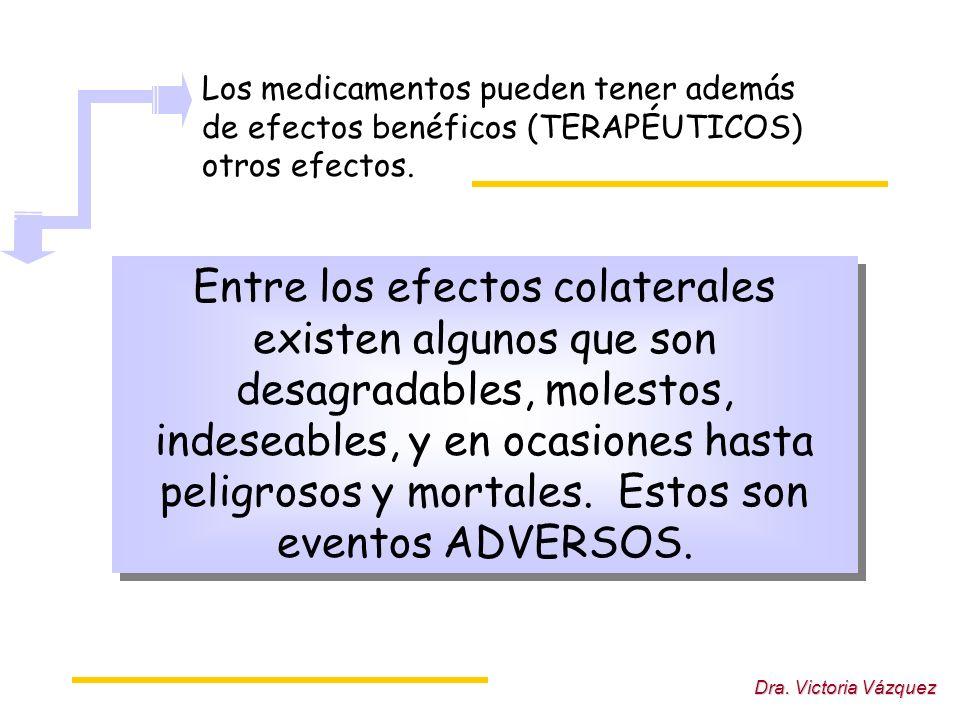 Dra. Victoria Vázquez Los medicamentos pueden tener además de efectos benéficos (TERAPÉUTICOS) otros efectos. Entre los efectos colaterales existen al