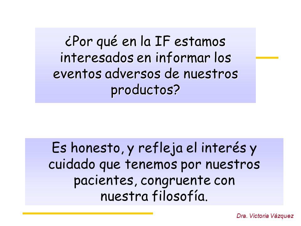 Dra. Victoria Vázquez ¿Por qué en la IF estamos interesados en informar los eventos adversos de nuestros productos? Es honesto, y refleja el interés y