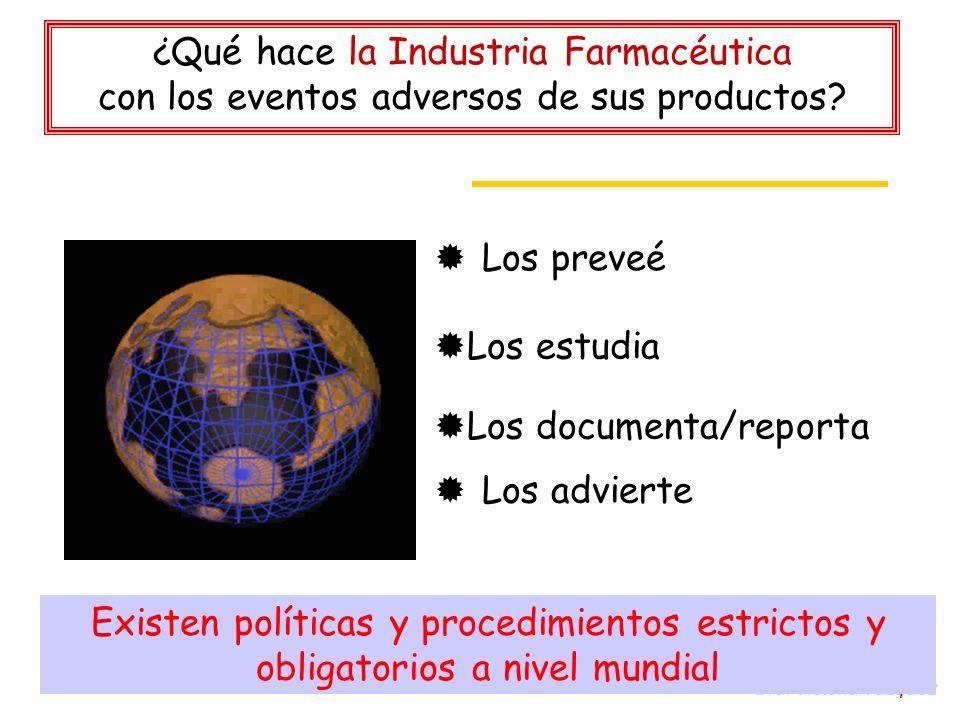 Dra. Victoria Vázquez ¿Qué hace la Industria Farmacéutica con los eventos adversos de sus productos? Los preveé Los estudia Los documenta/reporta Los