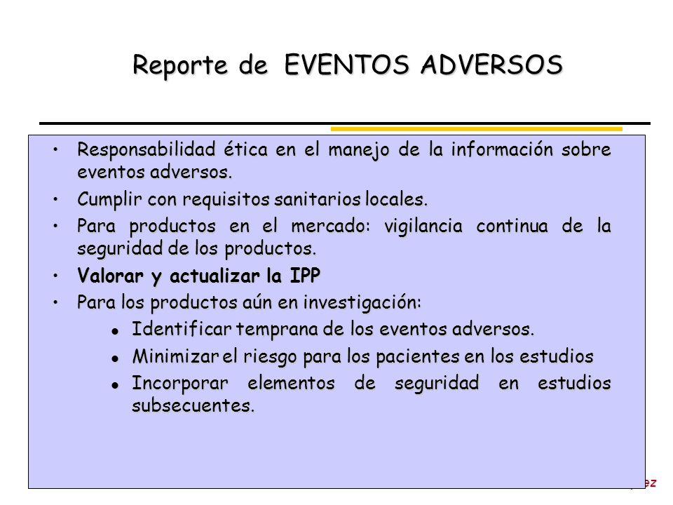 Dra. Victoria Vázquez Reporte de EVENTOS ADVERSOS Responsabilidad ética en el manejo de la información sobre eventos adversos.Responsabilidad ética en