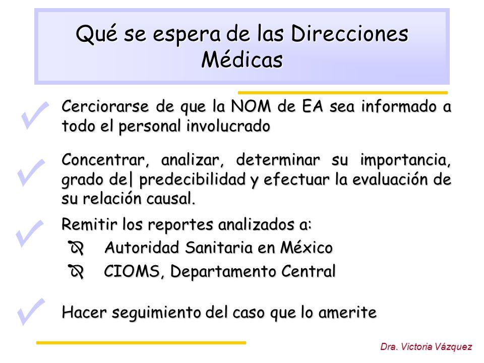 Dra. Victoria Vázquez Qué se espera de las Direcciones Médicas Cerciorarse de que la NOM de EA sea informado a todo el personal involucrado Concentrar