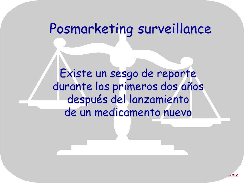 Dra. Victoria Vázquez Posmarketing surveillance Existe un sesgo de reporte durante los primeros dos años después del lanzamiento de un medicamento nue