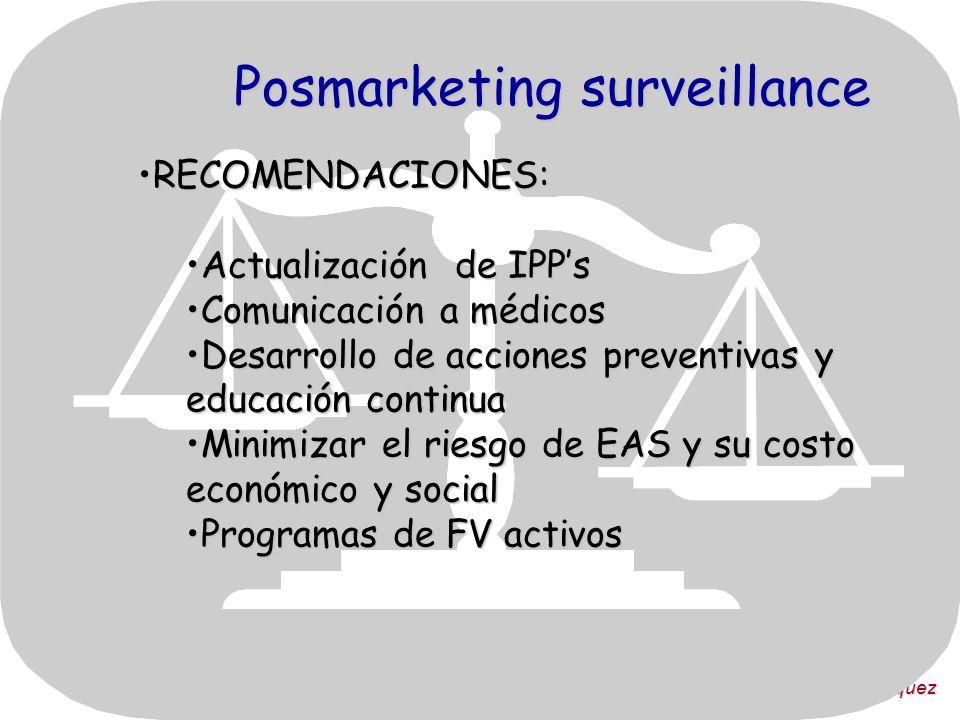 Dra. Victoria Vázquez Posmarketing surveillance RECOMENDACIONES:RECOMENDACIONES: Actualización de IPPsActualización de IPPs Comunicación a médicosComu