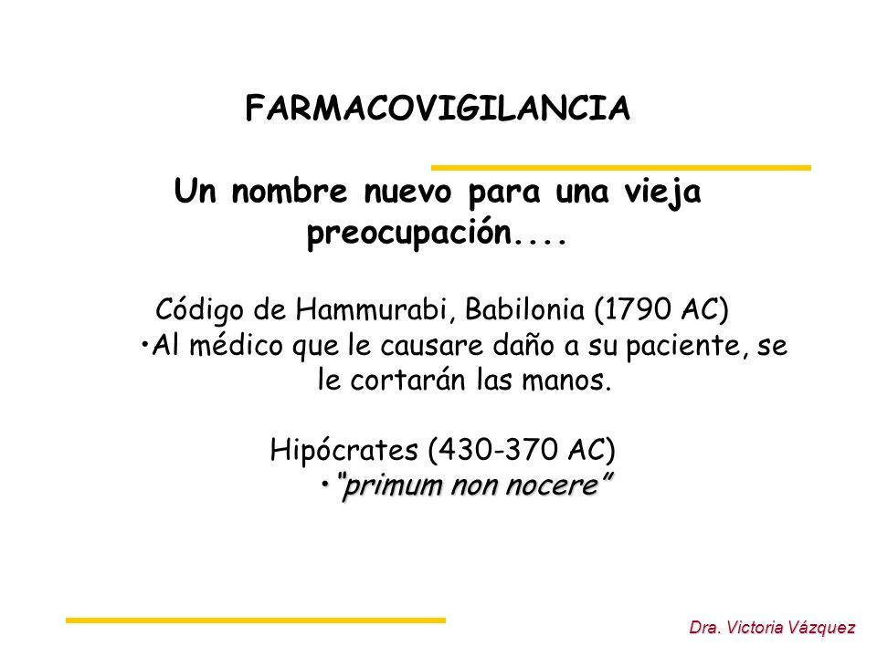 Dra.Victoria Vázquez FARMACOVIGILANCIA Un nombre nuevo para una vieja preocupación....