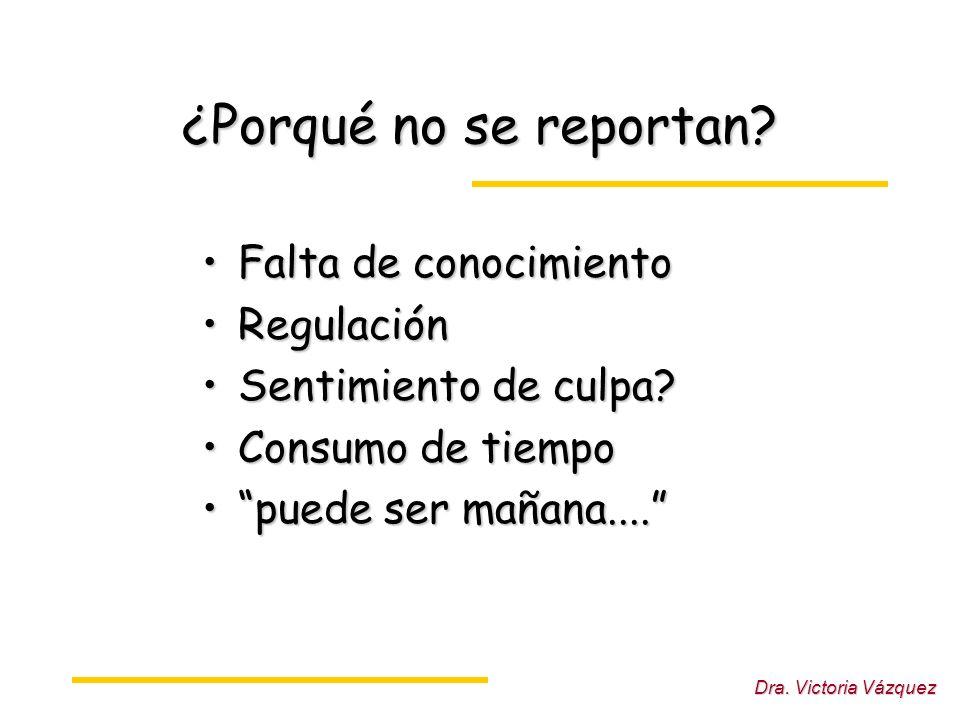 Dra.Victoria Vázquez ¿Porqué no se reportan.