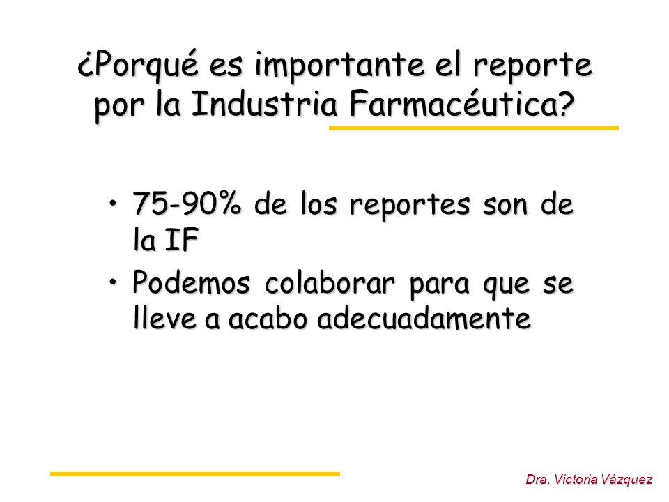 Dra.Victoria Vázquez ¿Porqué es importante el reporte por la Industria Farmacéutica.