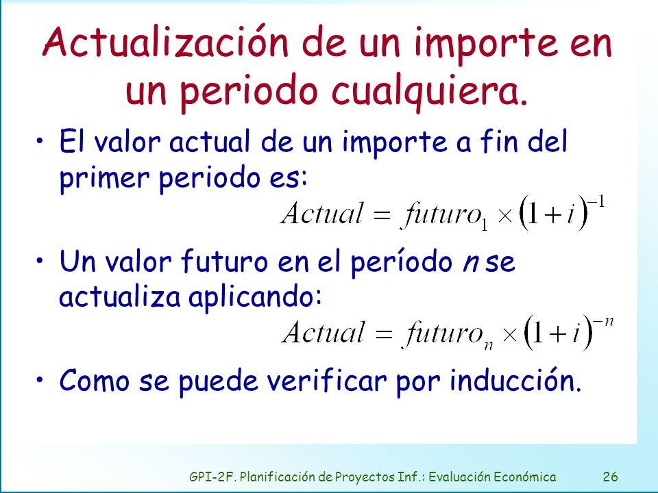 GPI-2F. Planificación de Proyectos Inf.: Evaluación Económica26 Actualización de un importe en un periodo cualquiera. El valor actual de un importe a