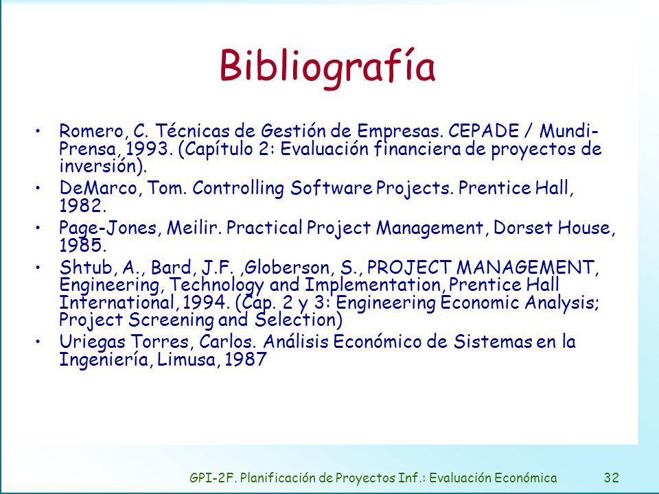 GPI-2F. Planificación de Proyectos Inf.: Evaluación Económica32 Bibliografía Romero, C. Técnicas de Gestión de Empresas. CEPADE / Mundi- Prensa, 1993.