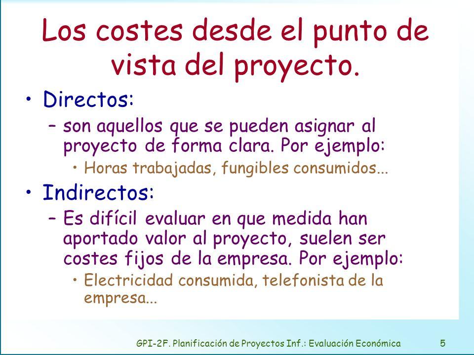 GPI-2F. Planificación de Proyectos Inf.: Evaluación Económica5 Los costes desde el punto de vista del proyecto. Directos: –son aquellos que se pueden
