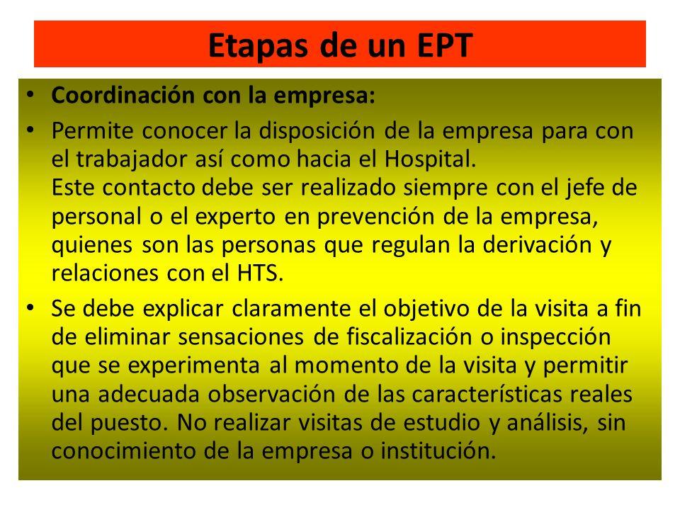 Etapas de un EPT Coordinación con la empresa: Permite conocer la disposición de la empresa para con el trabajador así como hacia el Hospital. Este con