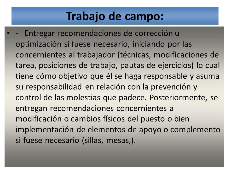 Trabajo de campo: - Entregar recomendaciones de corrección u optimización si fuese necesario, iniciando por las concernientes al trabajador (técnicas,