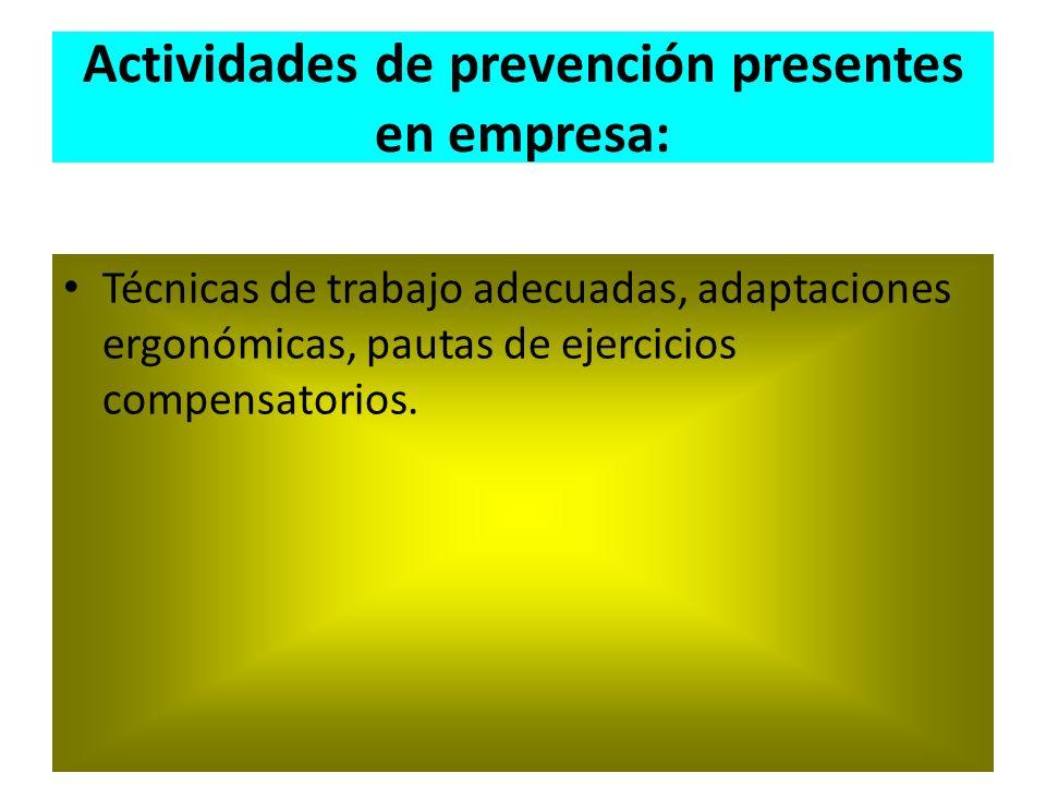 Actividades de prevención presentes en empresa: Técnicas de trabajo adecuadas, adaptaciones ergonómicas, pautas de ejercicios compensatorios.