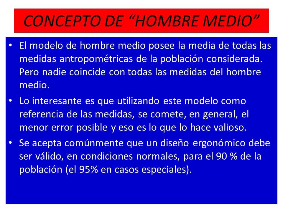 CONCEPTO DE HOMBRE MEDIO El modelo de hombre medio posee la media de todas las medidas antropométricas de la población considerada. Pero nadie coincid
