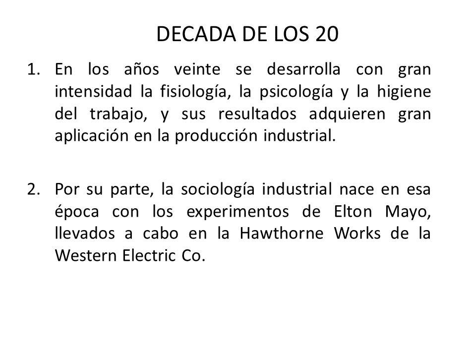 1.En los años veinte se desarrolla con gran intensidad la fisiología, la psicología y la higiene del trabajo, y sus resultados adquieren gran aplicación en la producción industrial.