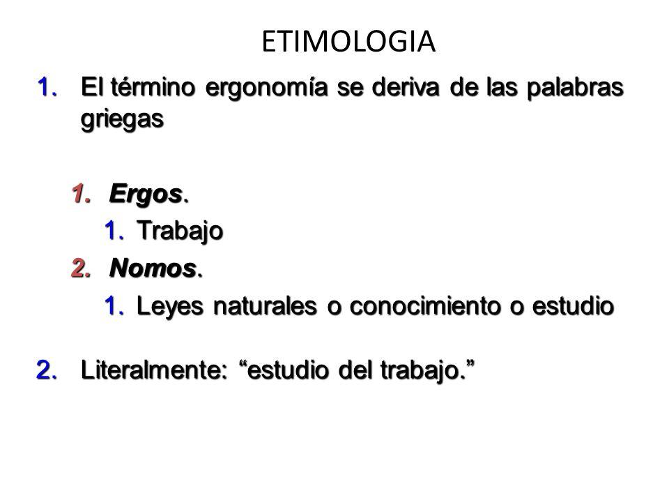 ETIMOLOGIA 1.El término ergonomía se deriva de las palabras griegas 1.Ergos. 1.Trabajo 2.Nomos. 1.Leyes naturales o conocimiento o estudio 2.Literalme