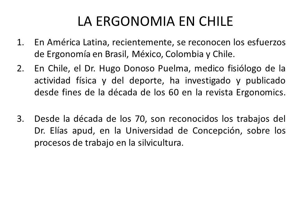 1.En América Latina, recientemente, se reconocen los esfuerzos de Ergonomía en Brasil, México, Colombia y Chile. 2.En Chile, el Dr. Hugo Donoso Puelma