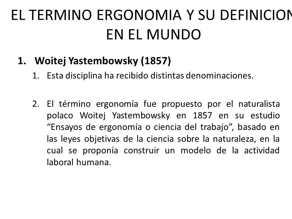 1.Woitej Yastembowsky (1857) 1.Esta disciplina ha recibido distintas denominaciones. 2.El término ergonomía fue propuesto por el naturalista polaco Wo