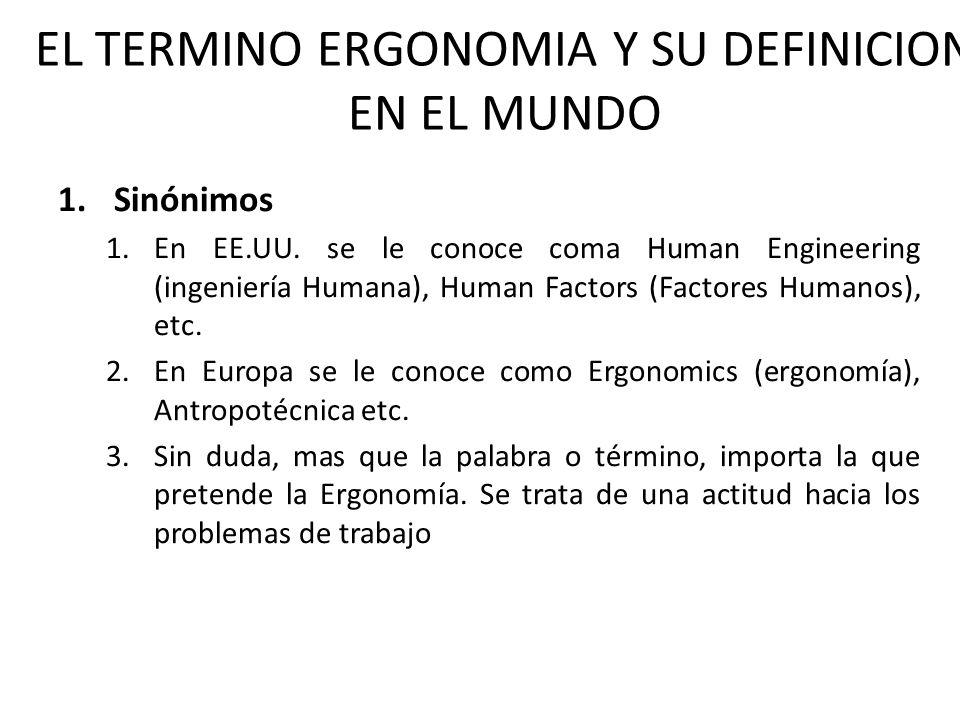 EL TERMINO ERGONOMIA Y SU DEFINICION EN EL MUNDO 1.Sinónimos 1.En EE.UU. se le conoce coma Human Engineering (ingeniería Humana), Human Factors (Facto