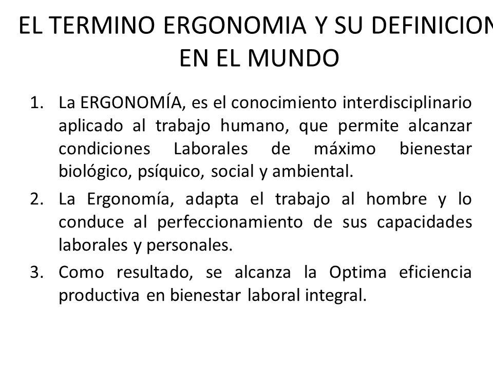 EL TERMINO ERGONOMIA Y SU DEFINICION EN EL MUNDO 1.La ERGONOMÍA, es el conocimiento interdisciplinario aplicado al trabajo humano, que permite alcanzar condiciones Laborales de máximo bienestar biológico, psíquico, social y ambiental.